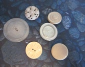 Vintage White Buttons - 6 Assorted Large Plastic