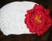 Toddler Girls Crochet Flower Hat With Christmas Peony Clip On FREE SHIP
