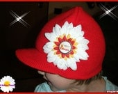 Red Visor Beanie Cap with Support Our Troops Flower Clip on RESERVED 4 SgtRoysWife