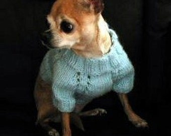 Immediate Download - PDF Knitting  Pattern - 5-needle Top Down Short Sleeve Dog Sweater