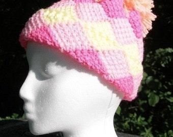 Immediate Download - PDF Crochet Pattern for Lauren's Entrelac Ski Hat
