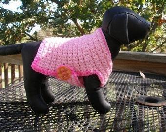 Immediate Download - PDF Crochet Pattern - Pink Ribbon Dog Sweater