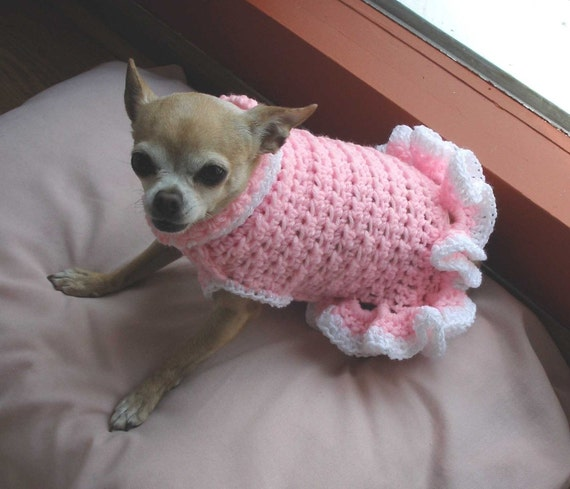 Free Crochet Patterns Dog Clothes : PDF Crochet Pattern Cha-Cha Dog Sweater Dress