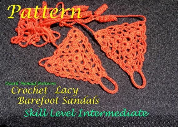 Immediate Download - PDF Crochet Pattern for Lacy Barefoot Sandals