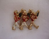 Vintage Enamel and Gold Tone Marching Soldiers Brooch