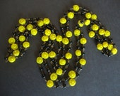 Vintage Black and Yellow Glass Bead Flower Motif Long Necklace