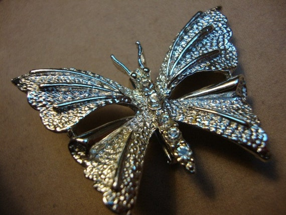Vintage GERRYS Rhinestone and Silver Tone Butterfly Brooch