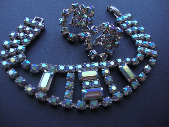Reserved for Vanita 1940's Blue Aurora Borealis Rhinestone and Silver Tone Bracelet and Clip On Earrings