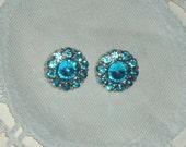 Aqua Acrylic Rhinestone Buttons