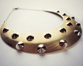 Brass collar necklace - studded necklace - choker - mixed metals