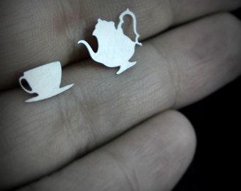 Tea earrings - silver tone stainless steel Alice in Wonderland jewelry - teacup and teapot stud earrings