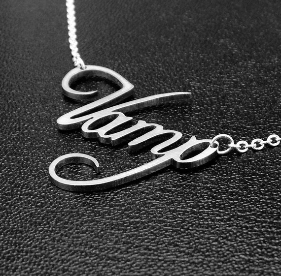 Vampire jewelry - text necklace - silver tone stainless steel gothic jewelry