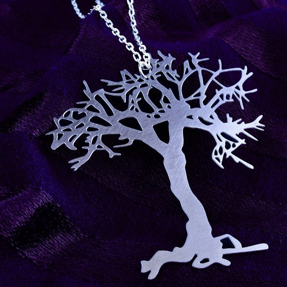 Tree necklace - silver tone stainless steel - whimsical silhouette jewelry