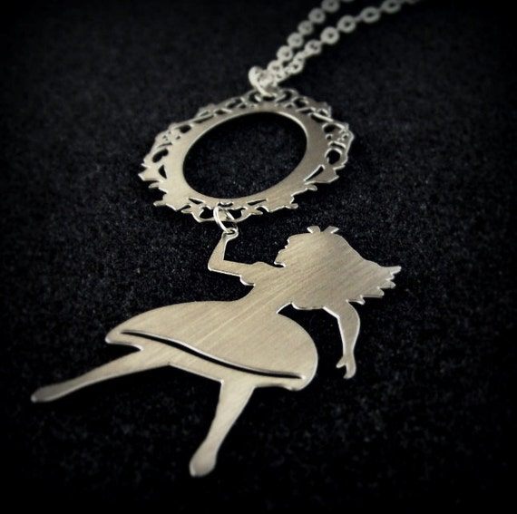 Alice in Wonderland necklace - looking glass - whimsical silhouette jewelry - long