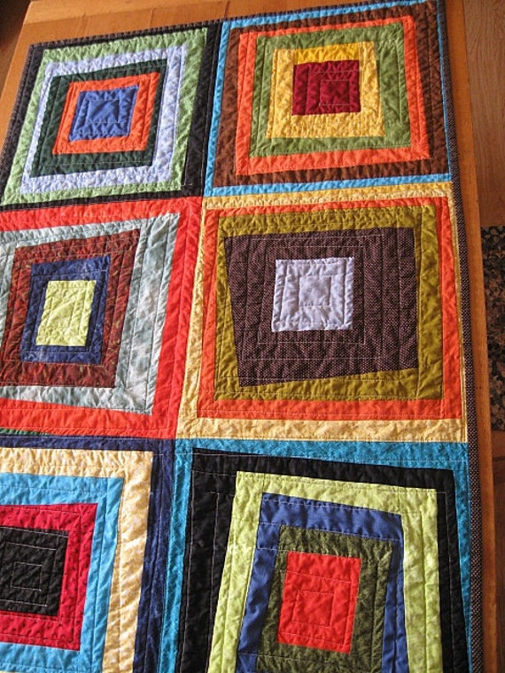 wonky squares - gender neutral baby quilt - toddler -  lap quilt - wall hanging - echo quilt 13 - READY TO SHIP