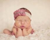 Le Madeleine - Pink Mauve Satin - Vintage Style - Ruffled Rhinestone Trim - Lace Headband - Girls Newborns Baby Infant Adults