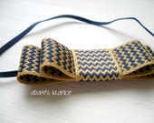 LAST ONE - Feelin Ziggy - Mustard Yellow Navy Blue Chevron Striped Bow Headband - Girls Newborns Baby Infant Adults - Photo Prop
