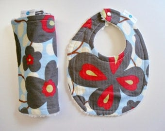 Morning Glory - Bib and Burp Cloth Set - Chenille and Pearl Snap