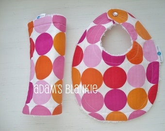 Juicy Summer Watermelon Dots - Baby Bib and Burp Cloth - Chenille and Pearl Snap - OR Design Your Own - 64 Fabrics