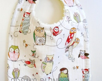 Spotted Owl Bib with Chenille and Pearl Snap