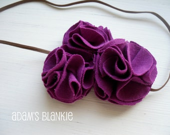 Plum Poppies - or CHOOSE COLOR - Purple Flower Petals on Skinny Chocolate Headband - Newborn Baby Infant Girls Teens Adults