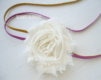 Double Banded Shabby Chic Rosette Headband - Ivory Cream on Skinny Fuschia and Goldenrod Headbands - OR You Choose Colors