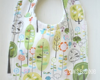 Infant to Toddler Bib - Happier Days - Birds Trees - with Chenille and Pearl Snap