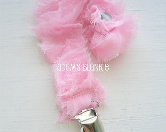 Gorgeous Shabby Chic Rosettes Baby Girl Pacifier Binkie Clip - Pink Rosettes