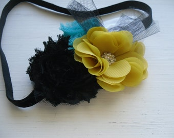 Magical Tuscan Nights - Mustard Yellow Turquoise Black White Shabby Chic Rosettes Tulle - Baby Infant Newborn Girls Adults Headband