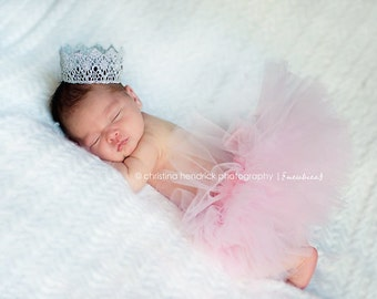 Vintage Inspired Silver Crown - Baby Infant Newborn - Photo Prop