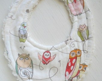 THE ORIGINAL Little Drooler Bibs - Perfect for Teething Baby or Baby that Spits Up - Spotted Owl OR Design Your Own - 64 Fabrics