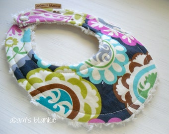 THE ORIGINAL Little Drooler Bib - Perfect for Teething Baby orBaby that Spits Up - Poppin Paisley OR Design Your Own - 64 Fabrics