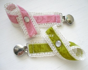 Velvet and Lace Binkie Clips - Baby Girls Best Friend Pacifier Clips - Set of Two - Pink Taffy and Olive