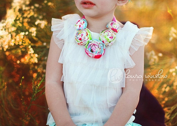 Rosette Fabric Flower Bib Statement Necklace for Mommy and Me - ENCHANTED - OR Design Your Own