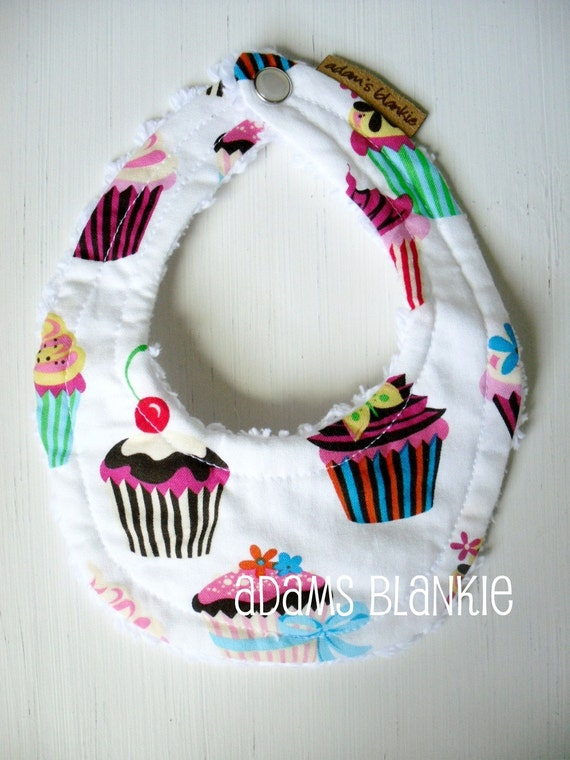 LAST ONE Cupcakes - The Original - Best Seller - Little Drooler Bib - Teething Baby - Spit Up - Sweet as a Cupcake - OR - You Choose Fabric