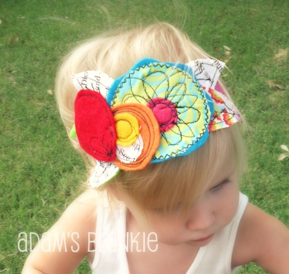 STITCH ART Couture Line - Punk Rock Soul - Punk Bouquet  Stretch Headband - Baby Infant Newborn Girls Adults