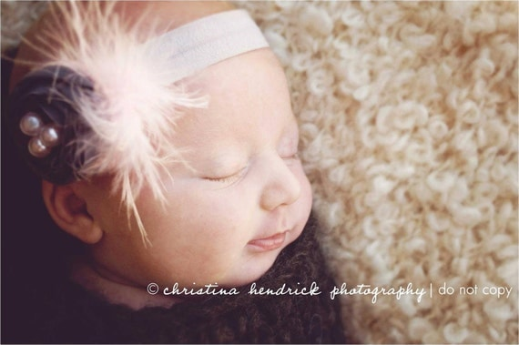 Birds Nest - Rolled Rosette Flower - Feathers Pearls - Gray Headband - Girls, Infants, Newborns, Toddlers, Teens, Adults - Great PHOTO PROP