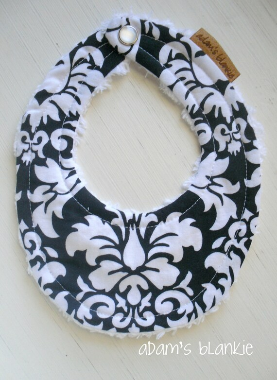 THE ORIGINAL Little Drooler Bib - Teething Baby - Spit Up - Black and White Damaks OR Design Your Own - 64 Fabrics