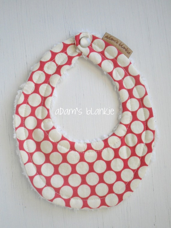 THE ORIGINAL Little Drooler Bib - Perfect for Teething Baby or Baby that Spits Up - Cherry Full Moon Dots OR Design Your Own - 64 Fabrics