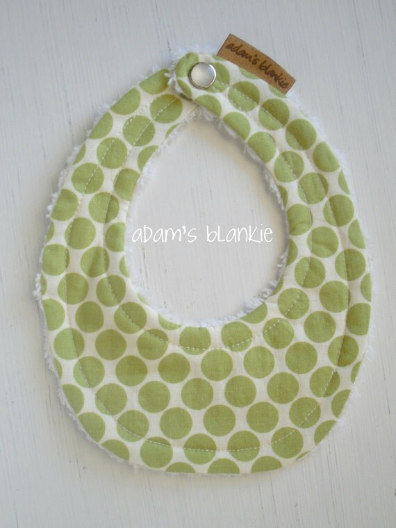 THE ORIGINAL Little Drooler Bib - Perfect for Teething Baby or Baby that Spits Up - Lime Full Moon Dots OR Design Your Own - 64 Fabrics