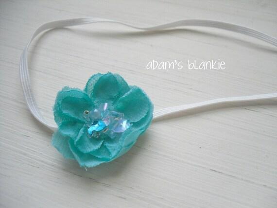 Vintage Turquoise - Fresh Aqua Blue Flower - Beads Sequins - Skinny White Headband - Baby Toddler Newborn Girls Adults - Photo Prop