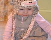 Girl Pink and Tan Sock Monkey Hat with Flower and Top Pom Pom - Size 0-3 months - 3-6 months - 6-12 months