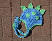 Dinosaur Dragon Hat - All Sizes Available - Baby Blue - Mint Green - Size Newborn - Boy or Girl