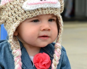 "INSTANT DOWNLOAD Pattern Crochet Hat for ""Sock Monkey"" Earflap Hat  w/Flower - Sizes NB to 4/10yr"