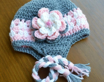 Girl's Grey Pink White Earflap Hat - All Sizes - Customize your colors - Size 1-3 years
