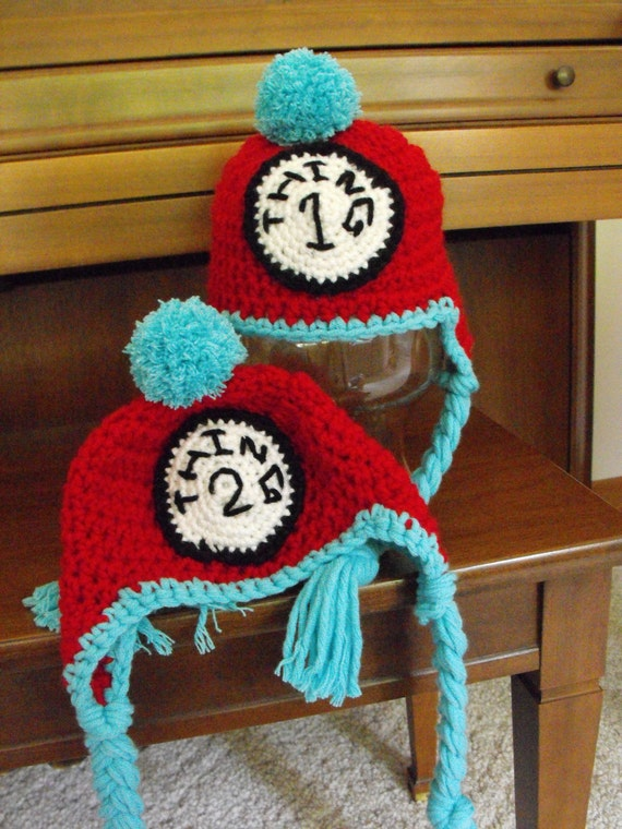 Dr. Seuss Thing 1 Earflap Hat  - Available In All Sizes - Photo Prop - Twins - Size Newborn