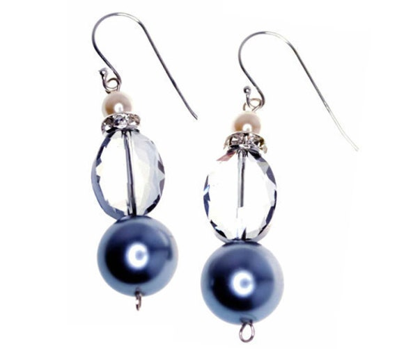 Blue Crystal Earrings with Pearl