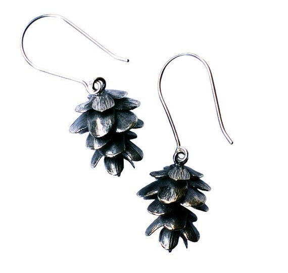 Pinecone Earrings Silver Cast Nature