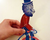 Paper Puppet Set, Lion on PennyFarthing Bicycle for Gift Giving, Retro Vintage Play, Decor - Red, Blue
