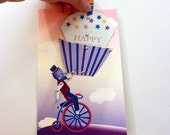 Pop Up Birthday Card, Giant Cupcake, funny birthday card, vintage greeting card, penny farthing, lion toy